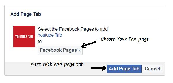 add youtube tab facebook page