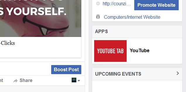 youtube app on facebook page