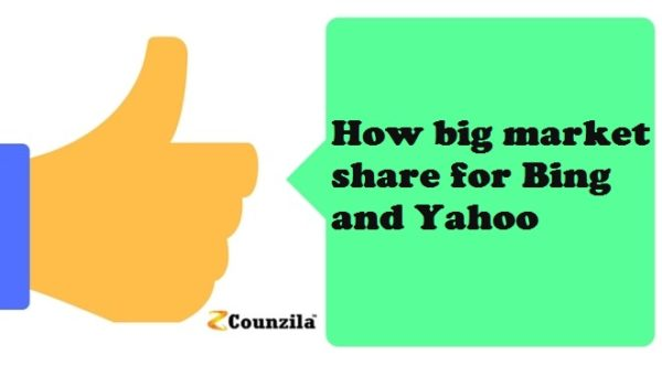 How big market share for Bing and Yahoo?